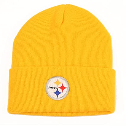 d217271ff1e0b Amazon.com   Pittsburgh Steelers Cuffed Embroidered Logo Winter Knit Hat -  Yellow   Sports Fan Beanies   Sports   Outdoors