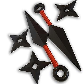 Naruto Juego 2 Kunai Grande Rojo y 3 Shuriken Arma y ...
