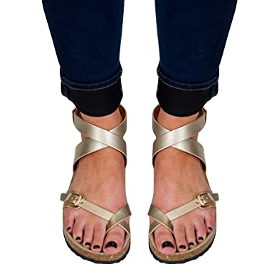 8559d887bac Womens Flat Sandals Ankle Strap Buckle Flip Flop Gladiator Thong Summer  Shoes