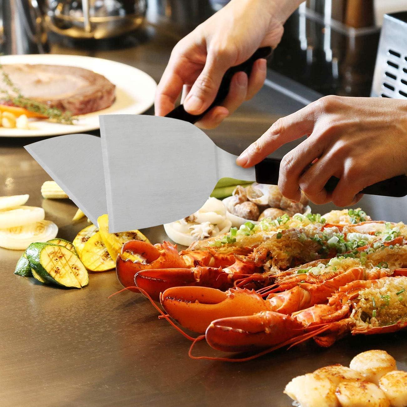 Adanse Kit DAccessoires Griddle Outil 6 Piece Professional Grill Spatule /& Scraper Set Flipper en Acier Inoxydable pour Flat Top Grill Hibachi BBQ Camping Cuisine au Lave-Vaisselle