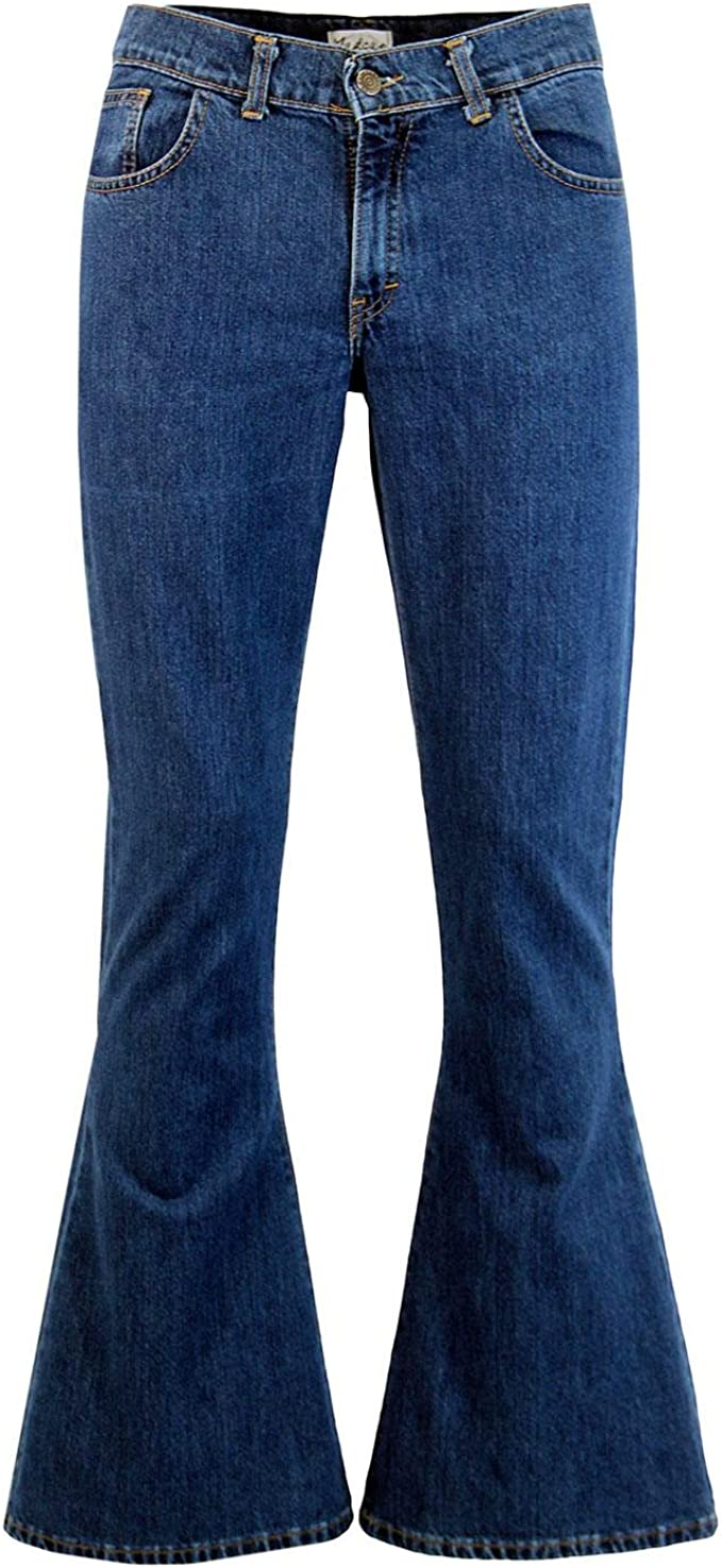 Hippie Pants, Jeans, Bell Bottoms, Palazzo, Yoga Madcap England Mens Retro 60s Rock Bellbottom Flares in Blue Denim £34.99 AT vintagedancer.com
