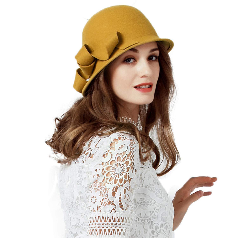 Women Elegant Winter Felt Wool Fedora Hats Wide Brim Floral Bowler Church Cloche Hats