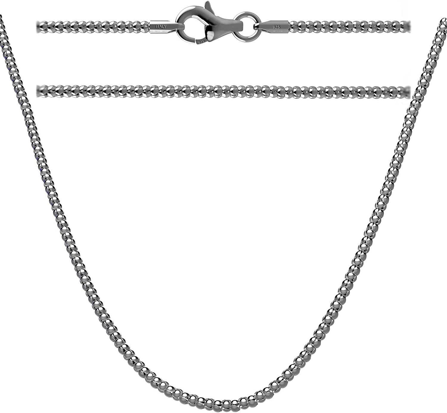 1mm STERLING SILVER 925 ITALIAN LADY COREANA LINK STYLE CHAIN NECKLACE JEWELLERY