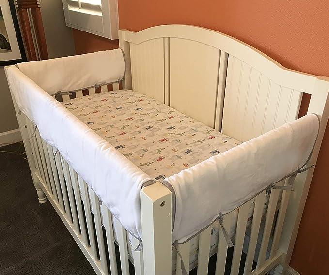 Narrow Long Petal Grey 100/% Cotton Velour Backing Breathable 200 Count Cotton on face Effe Bebe Reversible Crib Rail Cover 1PC//Set