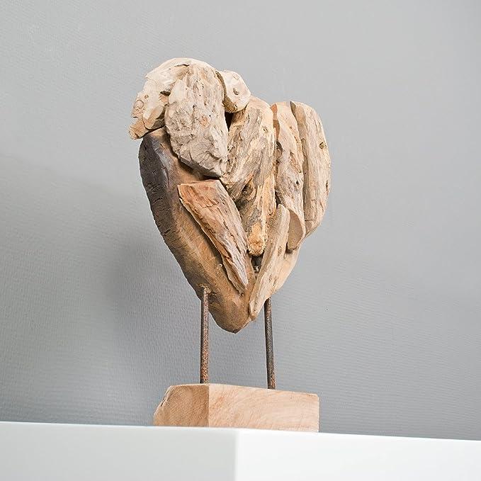 Herz-Figur HATI Figur Statue Deko Massiv Teak Holz Hochzeit Höhe ca. 30cm