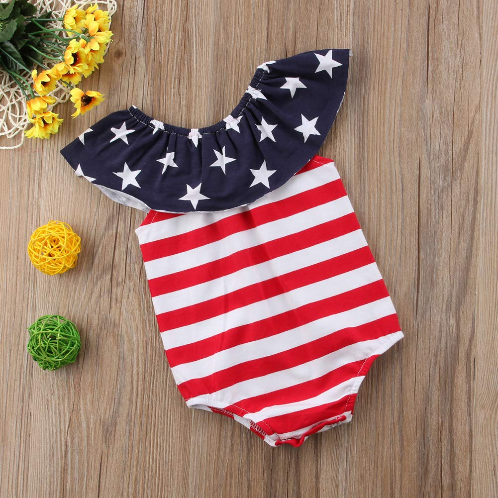 Merqwadd 4th of July American Flag Infant Romper Newborn Baby Girl Clothes Striped Star Ruffle Jumpsuit Bodysuit Outfits