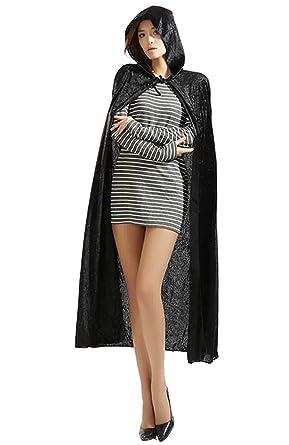 062d453790642 ハロウィン衣装 コスプレ パーティードレス 黒吸血鬼 ケープ シャーマンフード付き マント ブラック M