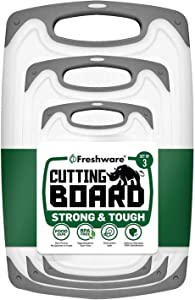 Freshware Cutting Board with Juice Grooves, Reversible, BPA-Free, Non-Porous, Dishwasher Safe, Kitchen, Set of3