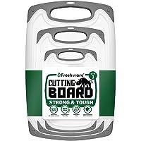 Freshware Cutting Board with Juice Grooves, Reversible, BPA-Free, Non-Porous, Dishwasher Safe, Kitchen, Set of 3