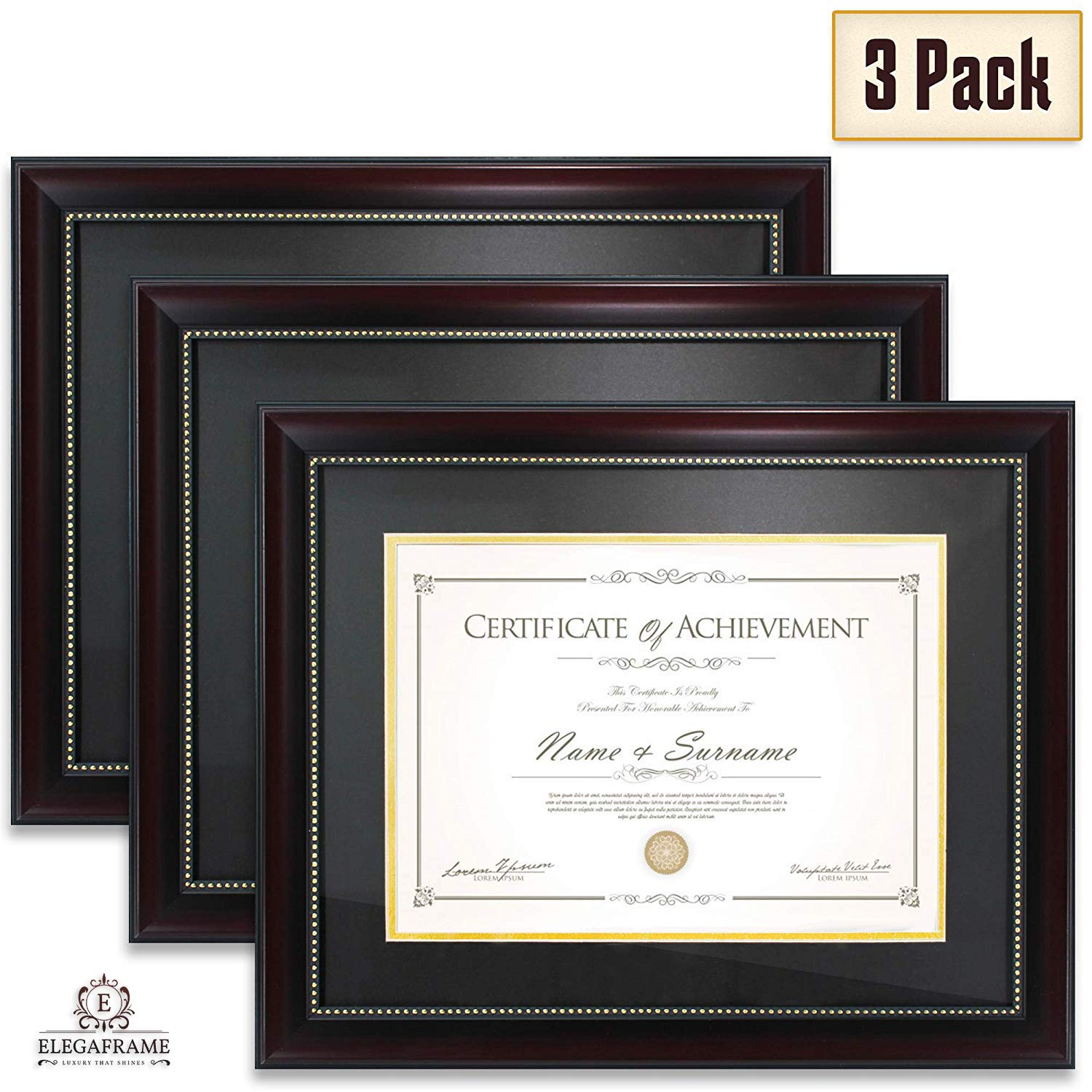 Elegaframe Diploma Frame (3-Pack) That Holds 8.5x11 Inch Document with Mat and 11x14 Inch Without Mat, Black and Red with Golden Rim, for Documents and Certificates by Elegaframe