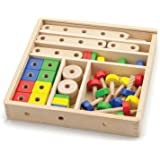 Viga Wooden 53 Piece Model Construction Set - Childrens Wood Block Building Kit
