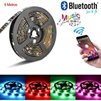 Tira LED de Bluetooth, MCSWKEY 5050 16.4 ft / 5 meter 150 Luz LED RGBW Tira de luces LED con Bluetooth para control de Smartphone Prueba de Agua RGB Tira de Luz Inteligente para la Decoración del Hogar y al Aire Libre