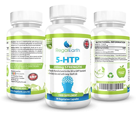 5-HTP 200mg cápsulas vegetarianas para los hombres y de las mujeres - Estimular la función cerebral y la serotonina, que controla el sueño, el apetito, ...