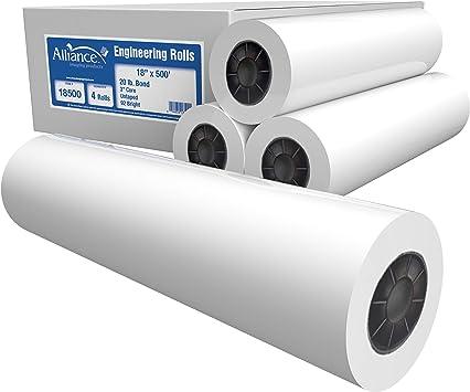 20lb Plotter Paper Dynasty Inkjet Bond Paper 92 Bright 36 x 150-4 Rolls Per Carton With 2 Core