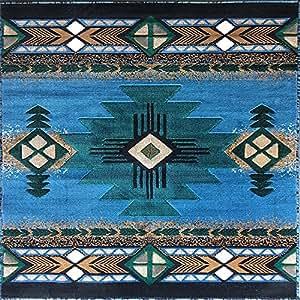 southwest native american square area rug blue design c318 7 feet 3 inch x 7 feet. Black Bedroom Furniture Sets. Home Design Ideas
