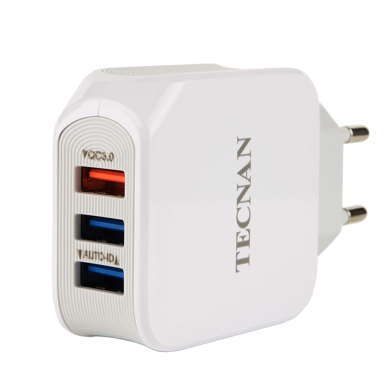 tecnan Quick Charge 3.0 Cargador 25 W Fuente de alimentaci/ón 3 USB Tipo C Conector Adaptador Cargador para iPhone X XS MAX XR 7 8 Plus iPad Huawei P20 Pro Samsung Galaxy Note 9 // S9 // S8 Plus