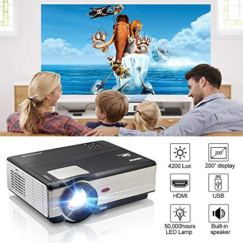 EUG 2019 LCD Digital Multimedia Video Projector 1080P Home Theater 4200 Lumens 1280×800 Native LED Projector Outside Entertainment Dual HDMI USB Compatible with PS4 Fire TV Stick Roku DVD Android Box