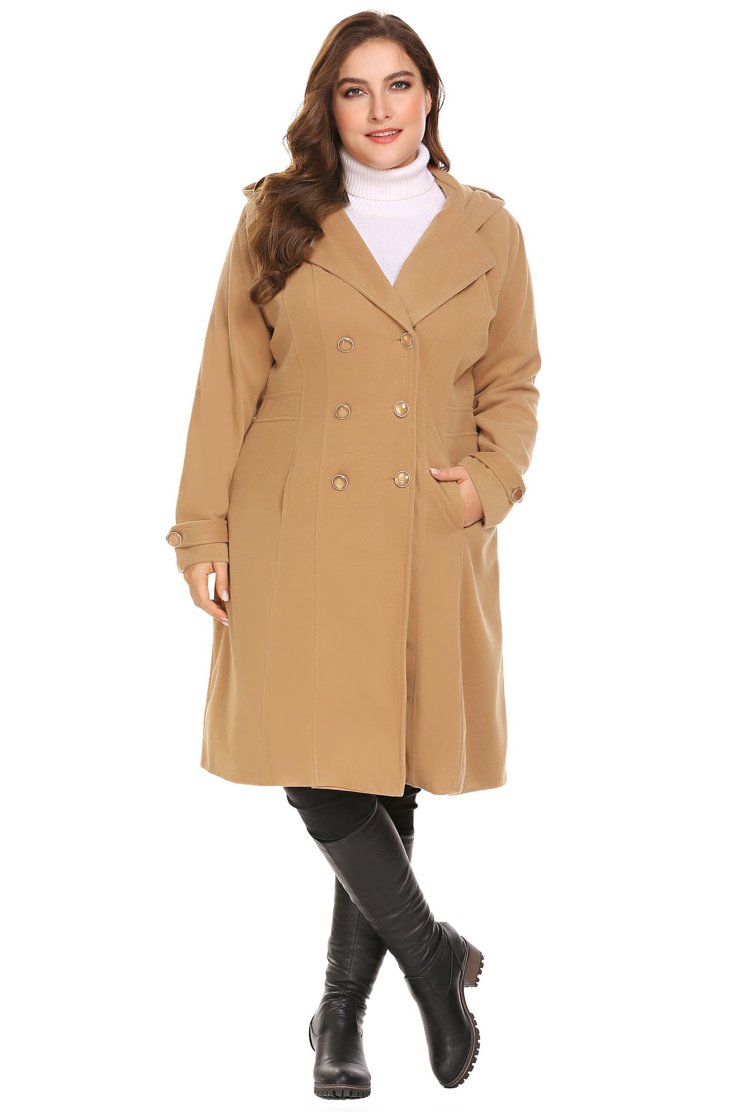 Zeagoo Women Plus Size Double Breasted Wool Elegant Long Lined Lightweight Trench Coat (16W-24W) by Zeagoo (Image #4)