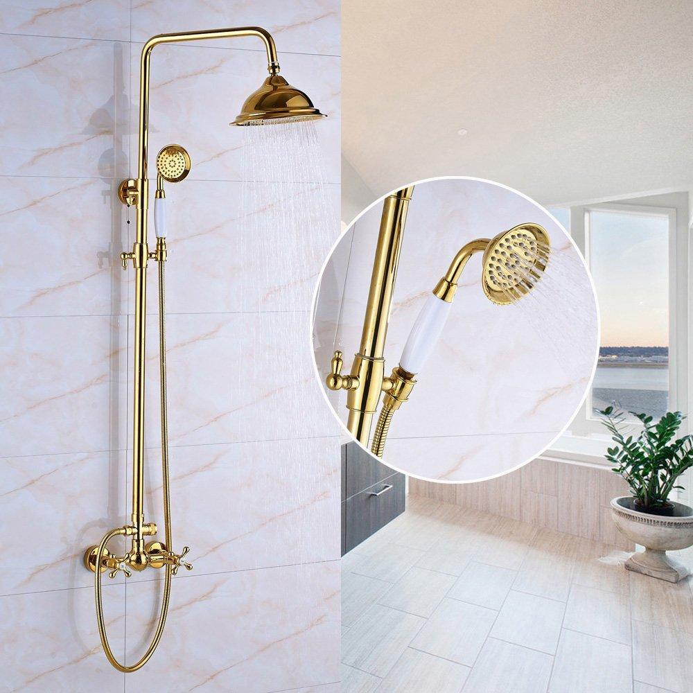Senlesen bagno 20,3cm soffione doccia sistema rubinetto a parete doppia croce maniglia per vasca da bagno o doccia, con manuale spray, finiture dorate