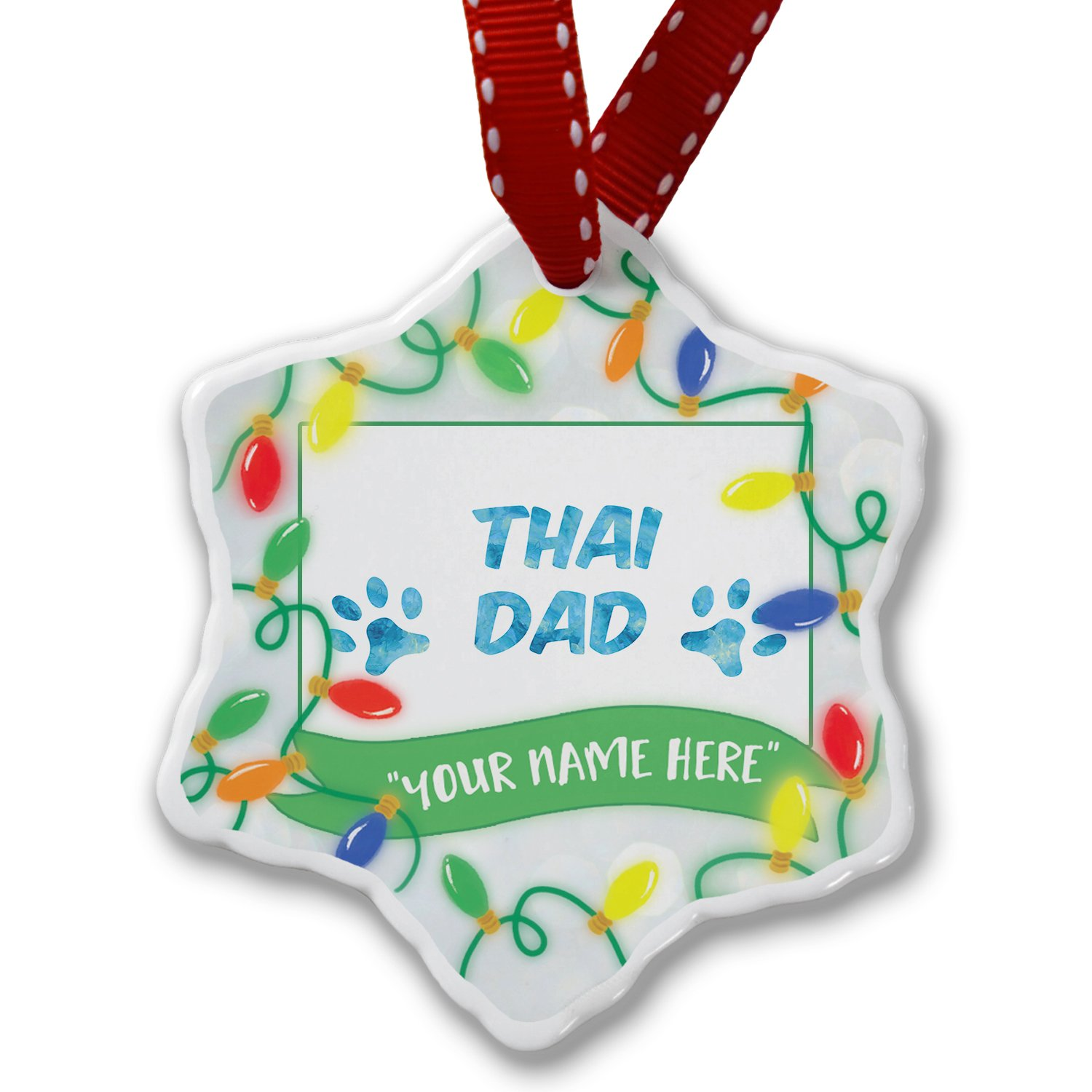 Personalized Name Christmas Ornament, Dog & Cat Dad Thai NEONBLOND