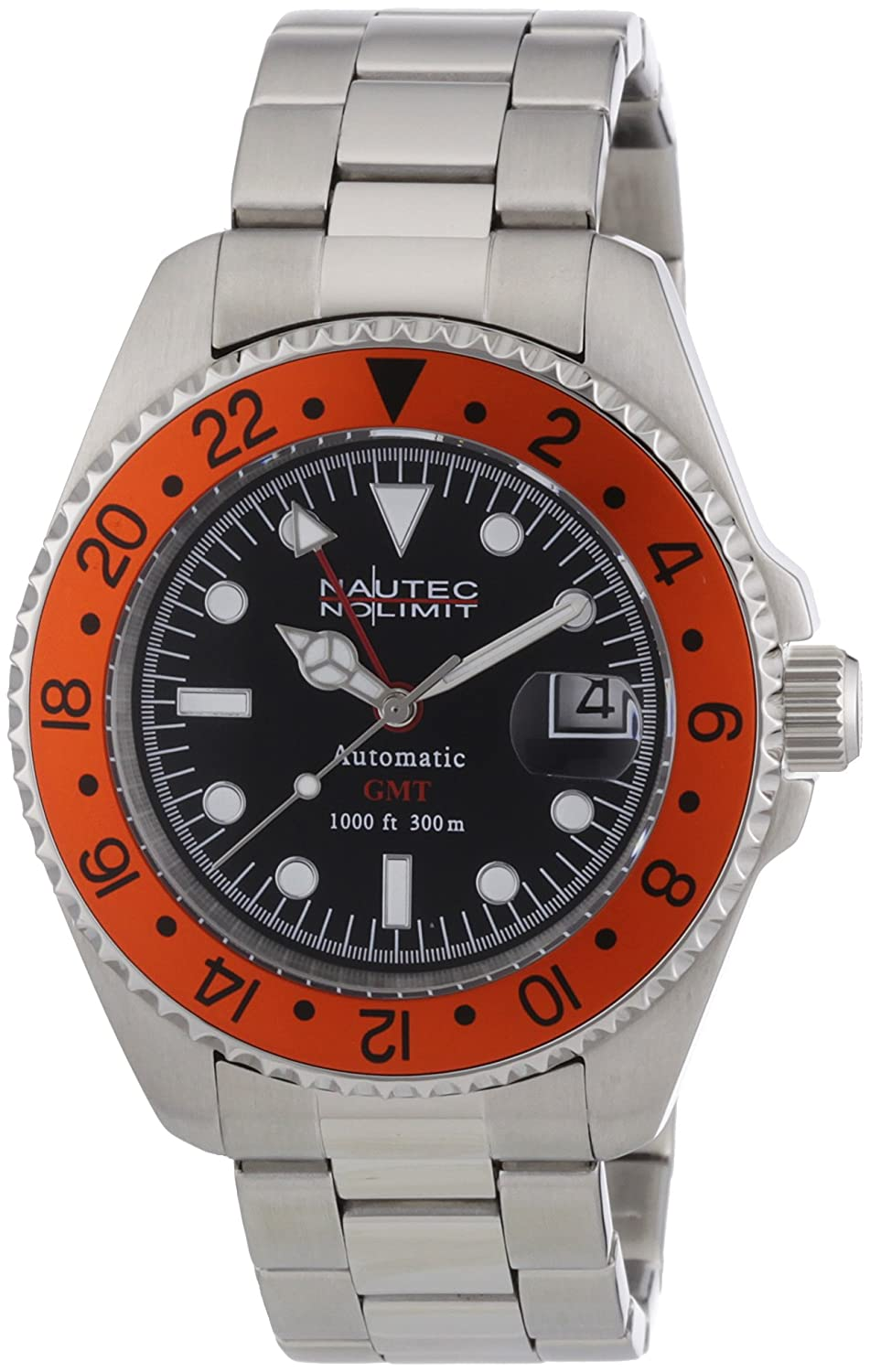 Nautec No Limit Herren-Armbanduhr Deep Sea DS AT-GMT-STSTORBK