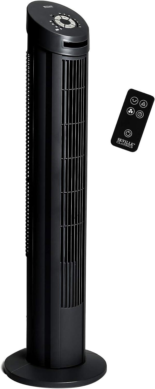 Seville Classics UltraSlimline 40 in. Oscillating Tower Fan, Black