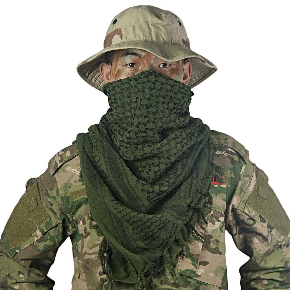 OneTigris Cotton Arab Shemagh Tactical Keffiyeh Desert Head Scarf for Men & Women (Green)