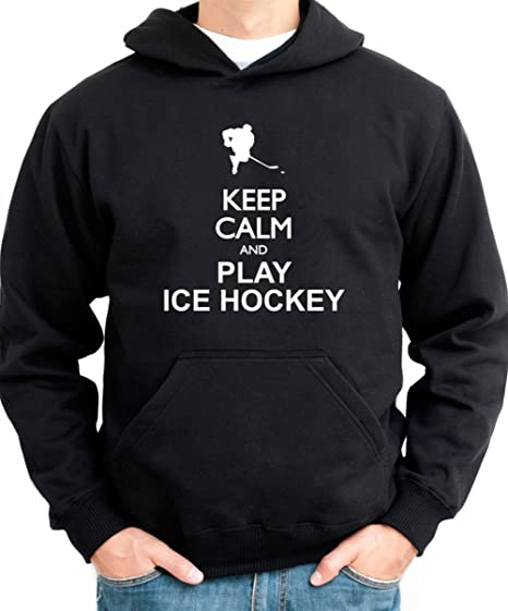 Keep Calm and Play Ice Hockey silueta de sudadera con capucha para hombre negro xxx-