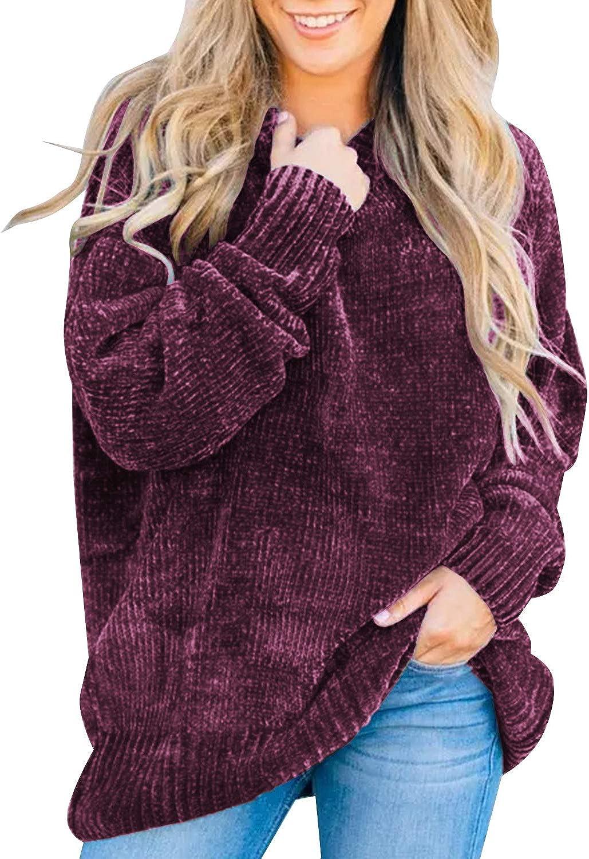 Women Ladies Autumn Winter Long Sleeve Chenille Knitted Jumper Knitwear