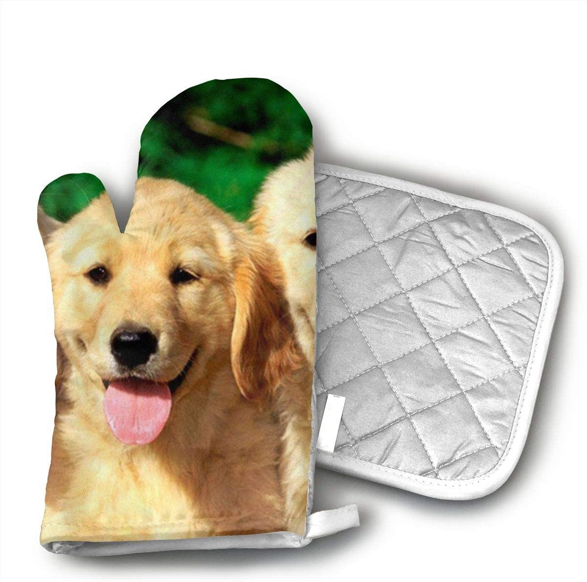 Wiqo9 Golden Retriever with Smiling Face Customized Dog Oven Mitts and Pot Holders Kitchen Mitten Cooking Gloves,Cooking, Baking, BBQ.