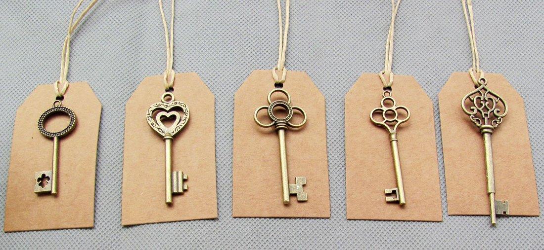 SL crafts Mixed 100pcs Skeleton Keys & 100 pcs Kraft Tags Antiqued Brass Bronze Charms Pendants Wedding Favor 34mm-68mm by SL crafts (Image #3)