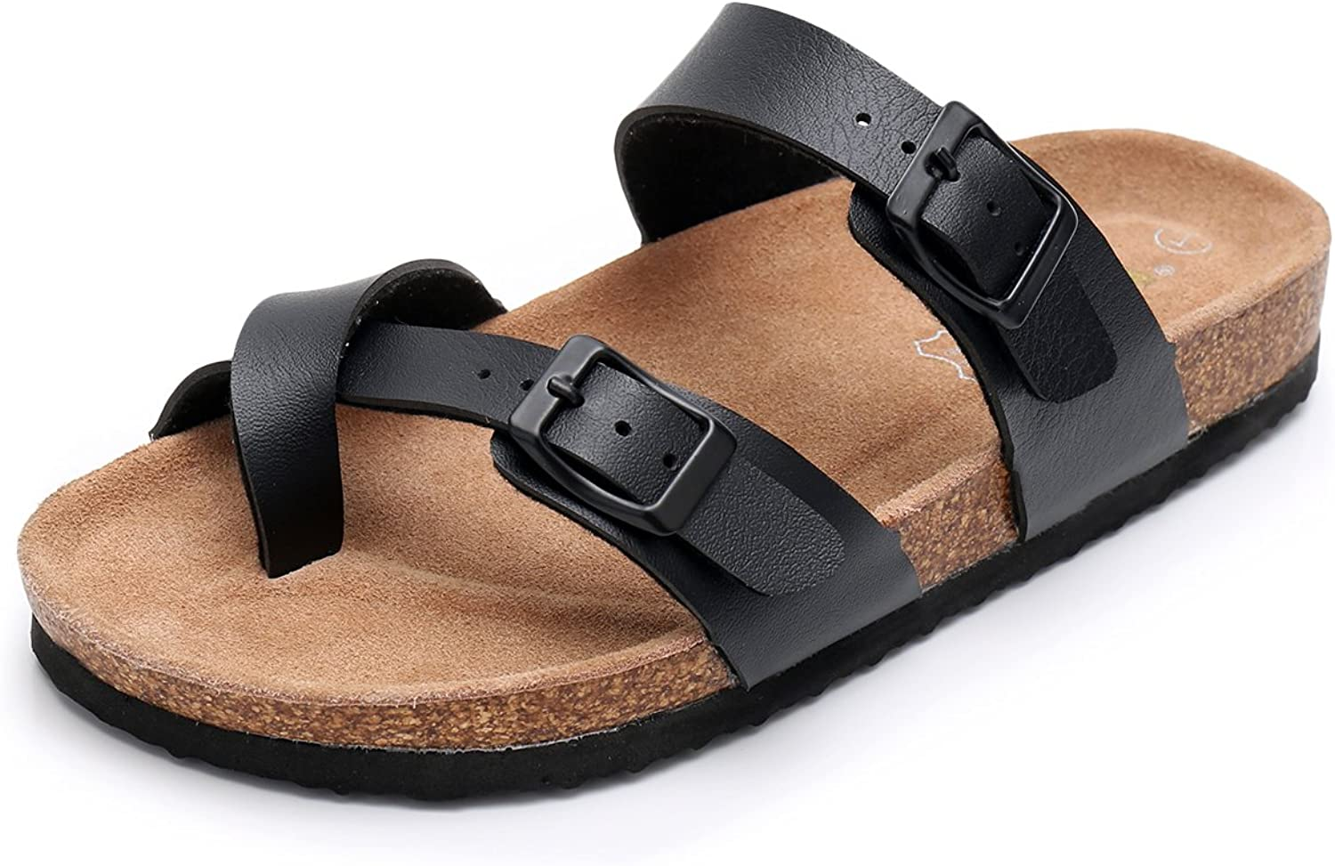 Womens Slide Flat Cork Sandals with Adjustable Strap Buckle Open Toe Slippers Suede Footbed
