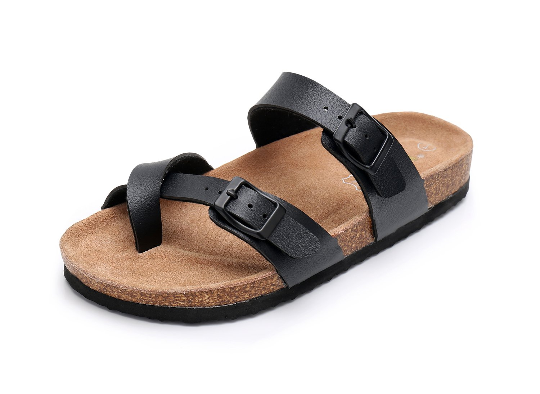 WTW Women Leather Sandals Arizona Slide Shoes (US 7, Black)