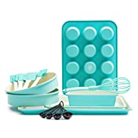 GreenLife Bakeware Healthy Ceramic Nonstick, Baking Set, 12 Piece, Turquoise