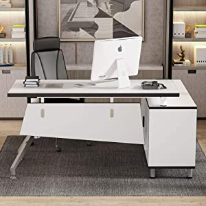 Tribesigns Modern L-Shaped Computer Desk, 55 inch Large Executive Office Desk Business Furniture Computer Workstation with File Cabinet and Tower Storage Shelf for Home Office