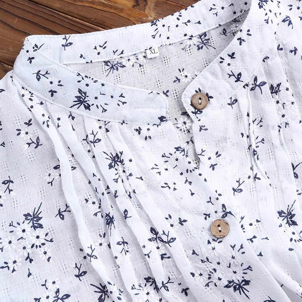 ❤Femmes Col en V/Longue Manche,/D/écontract/ée /en Vrac Tunique Bouton/Chemisier,Coton Respirant Hauts,/Él/égant Confortable T-Shirt,Chic Vintage Top,Pas Cher Clearance PANPANY