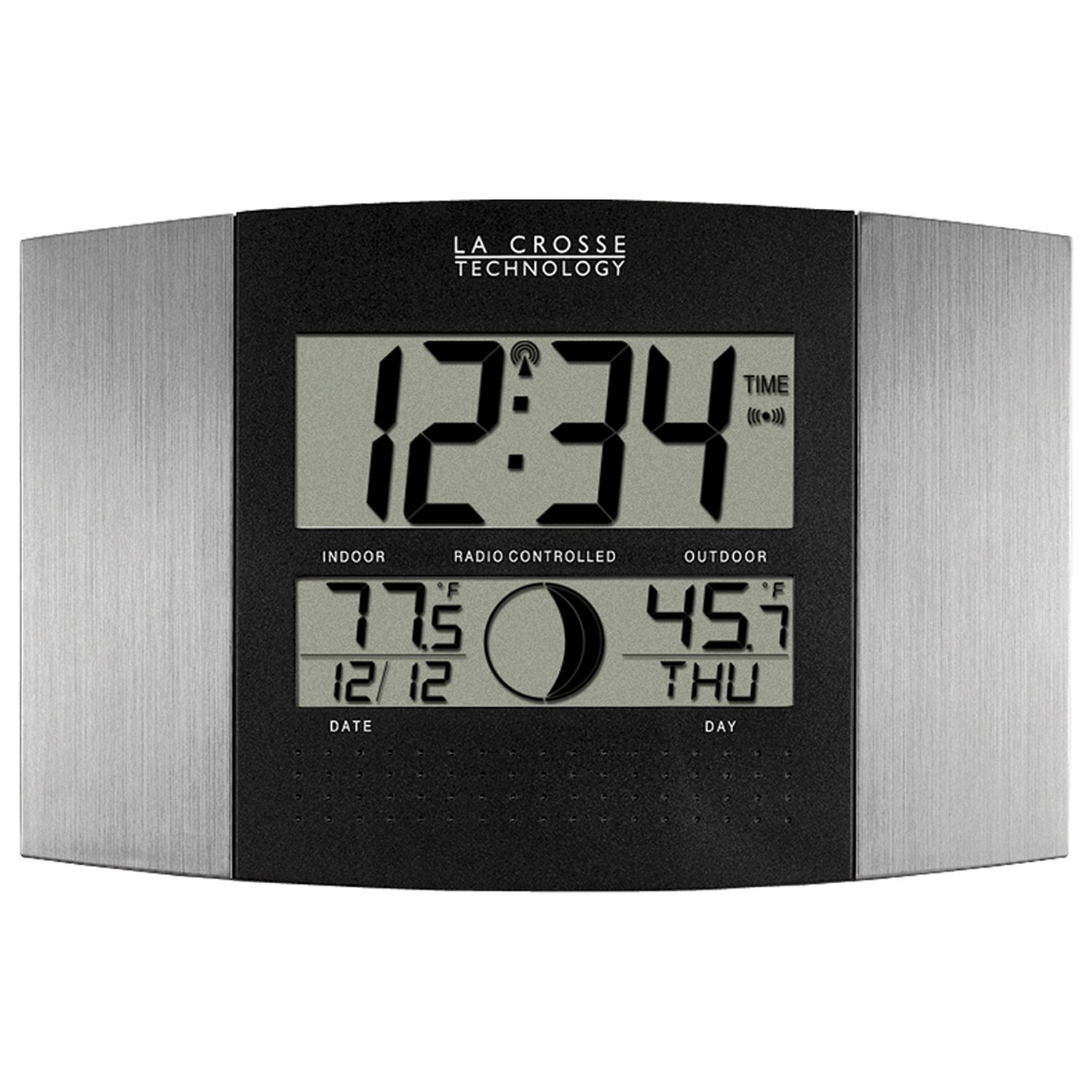 La Crosse Technology WS-8117U-IT-AL Atomic Wall Clock with Indoor/Outdoor Temperature by La Crosse Technology
