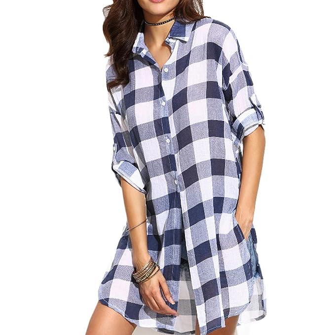 Culater® Camisas Mujer, Blusas Elegante Slim Tartán (34)
