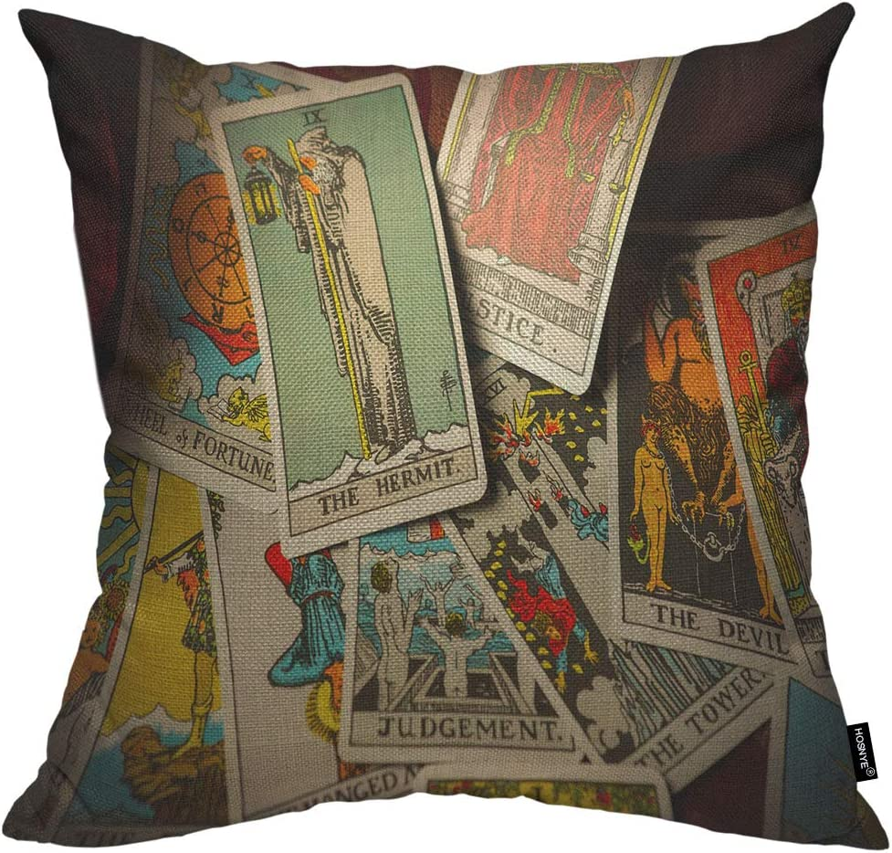 HOSNYE Tarot Trump Cards Throw Pillow Cushion CoversA Pile of Jumbled Scattered and Haphazardly Arranged Decorative Square Accent Pillow Case 18 x18 inch