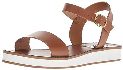 aa07f4ebd872 Steve Madden Women s Deluxe Flat Sandal Cognac Leather 6.5 ...