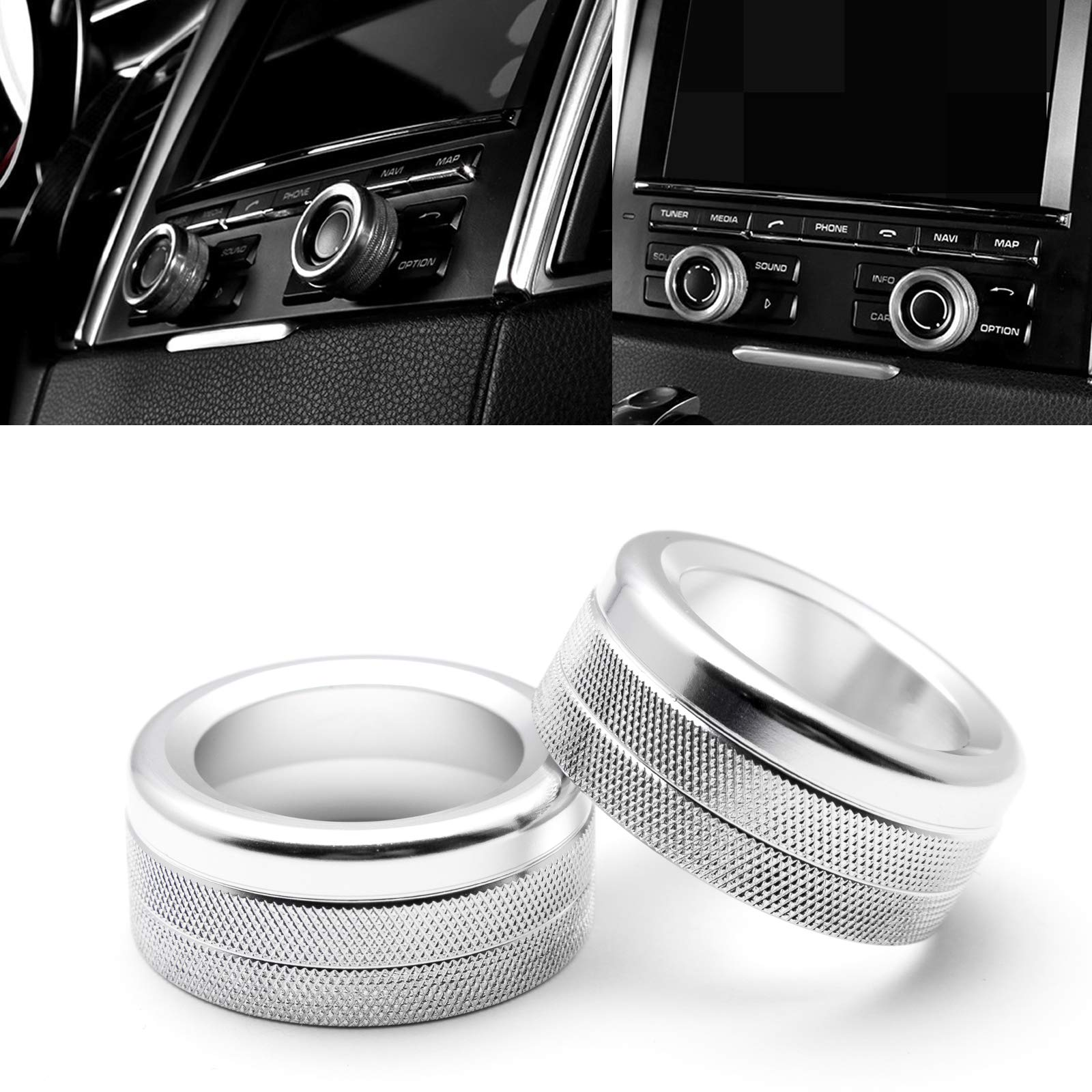 Xotic Tech 2X Silver Anodized Aluminum AC Climate Control Knob Ring Volume Knob Decor Cover for Porsche Cayenne 2008-2017
