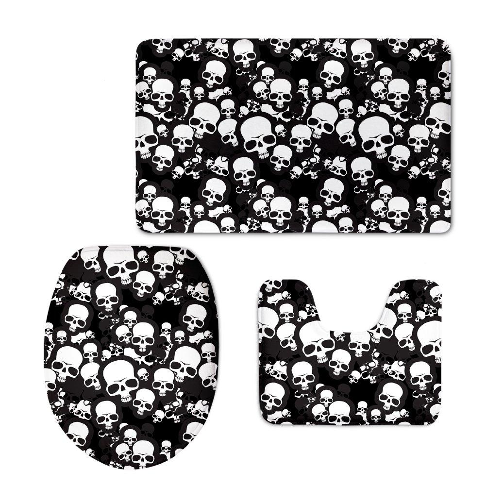 classic non slip bath mat rug set black and white skull