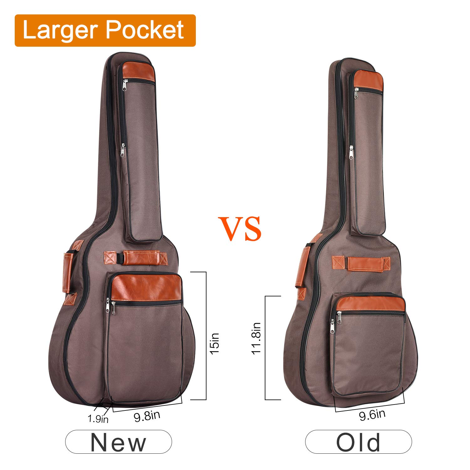 CAHAYA Guitar Bag 40 41 42 Inches 6 Pockets [Upgraded Premium Version] Guitar Case Waterproof Oxford Cloth 0.5 Inch Extra Thick Sponge Overly Padded with 5 Picks & Holder for Acoustic Classical Guitar by CAHAYA (Image #5)