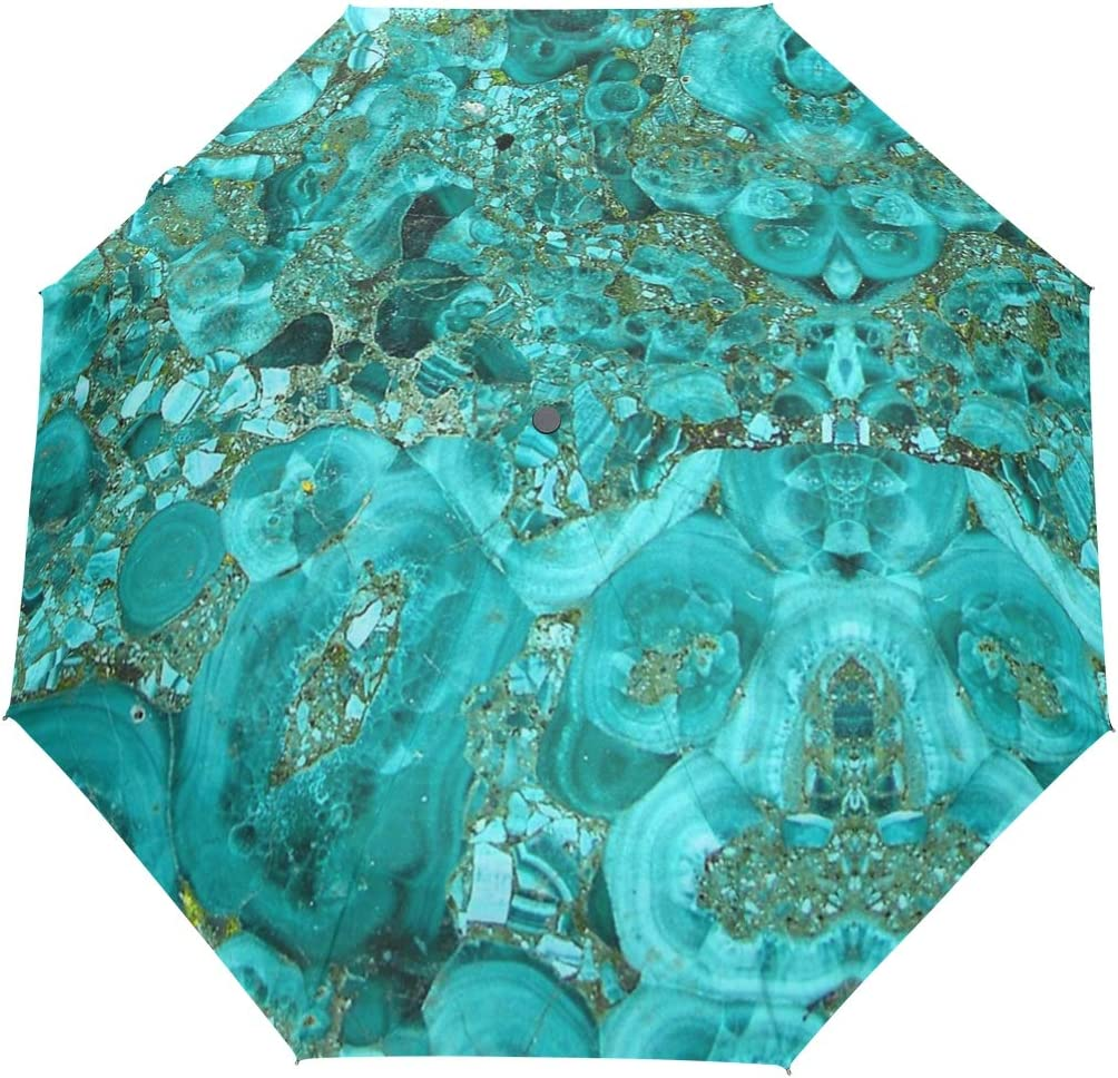 Marble Turquoise Blue Gold fashion print cute Windproof automatic tri-fold umbrella sun UV protection Sun umbrella