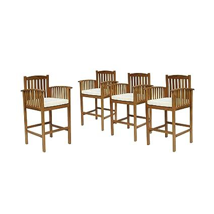 Tremendous Amazon Com Great Deal Furniture Gill Acacia Patio Bar Evergreenethics Interior Chair Design Evergreenethicsorg