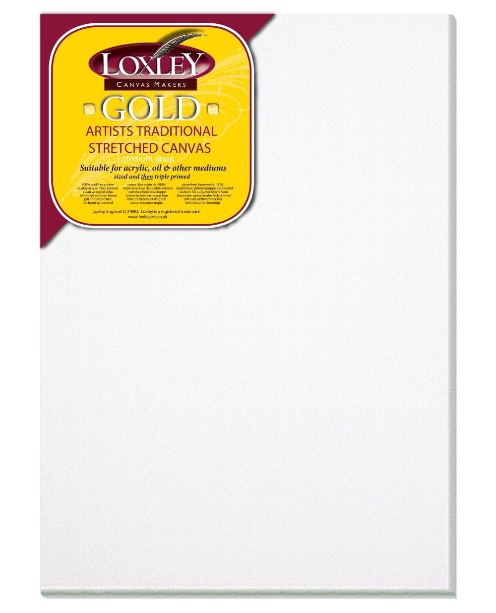 Loxley Gold 14 x 10-inch 35 x 25 cm 18 mm Traditional Depth Stretched Artist Canvas Primed LCM-1410