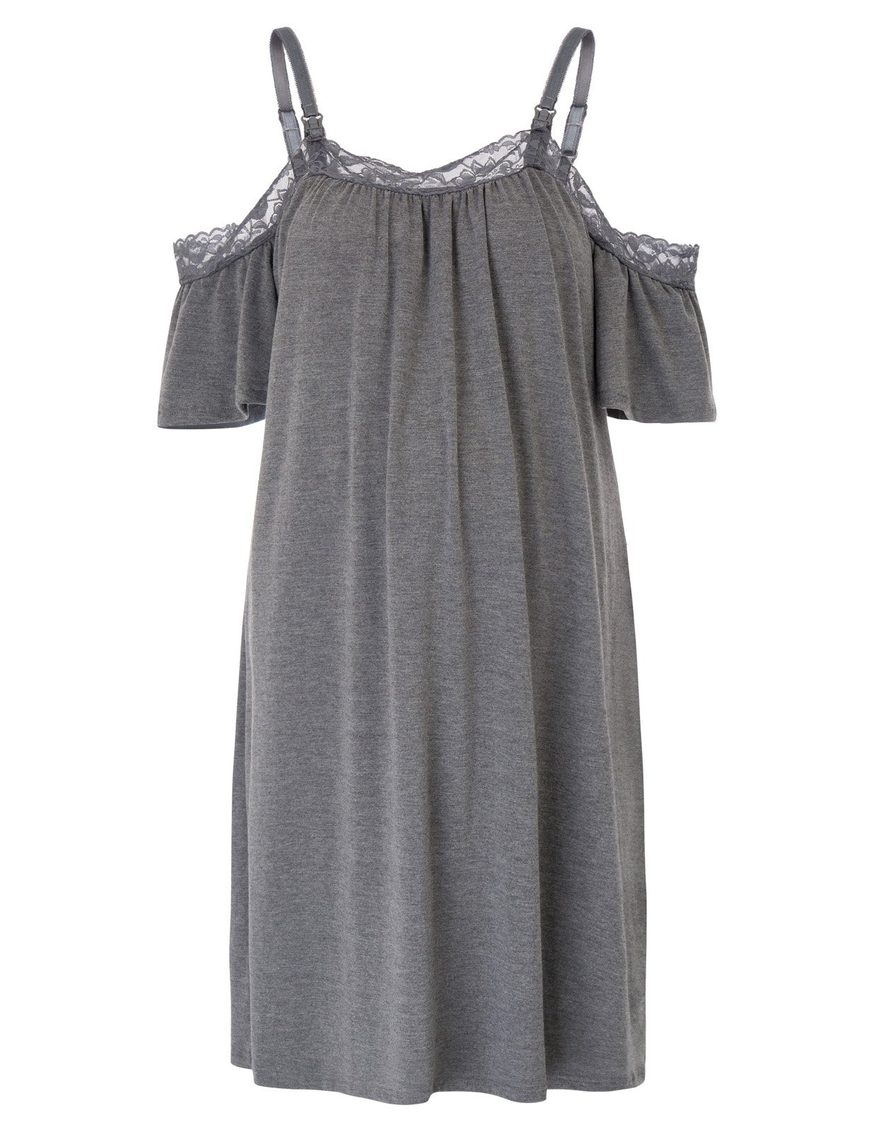 Maternity Dress Spaghetti Strap Cotton Sleepwear with Adjustable Strap XXL Dark Gray