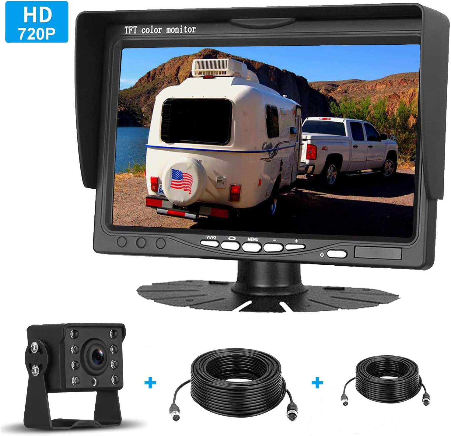 iStrong HD 720P Backup Camera  7 Monitor Kit System For Cars//Trucks//Trailers//Campers//Fifth Wheels  IP69K Waterproof Night Vision Rear//Front View High-Speed Observation System Guide Lines ON//OFF