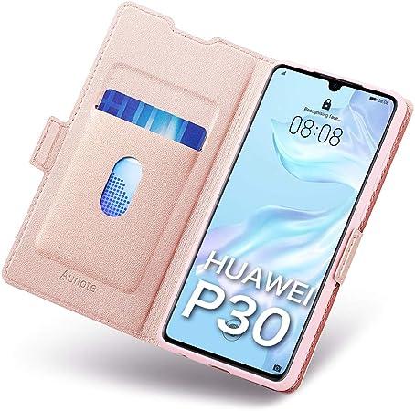 Cover per Huawei P30, Custodia Huawei P30 Portafoglio, Flip Folio Cover Libro Huawei P30 in PU Pelle con Slot Schede, Funzione Supporto e Chiusura ...