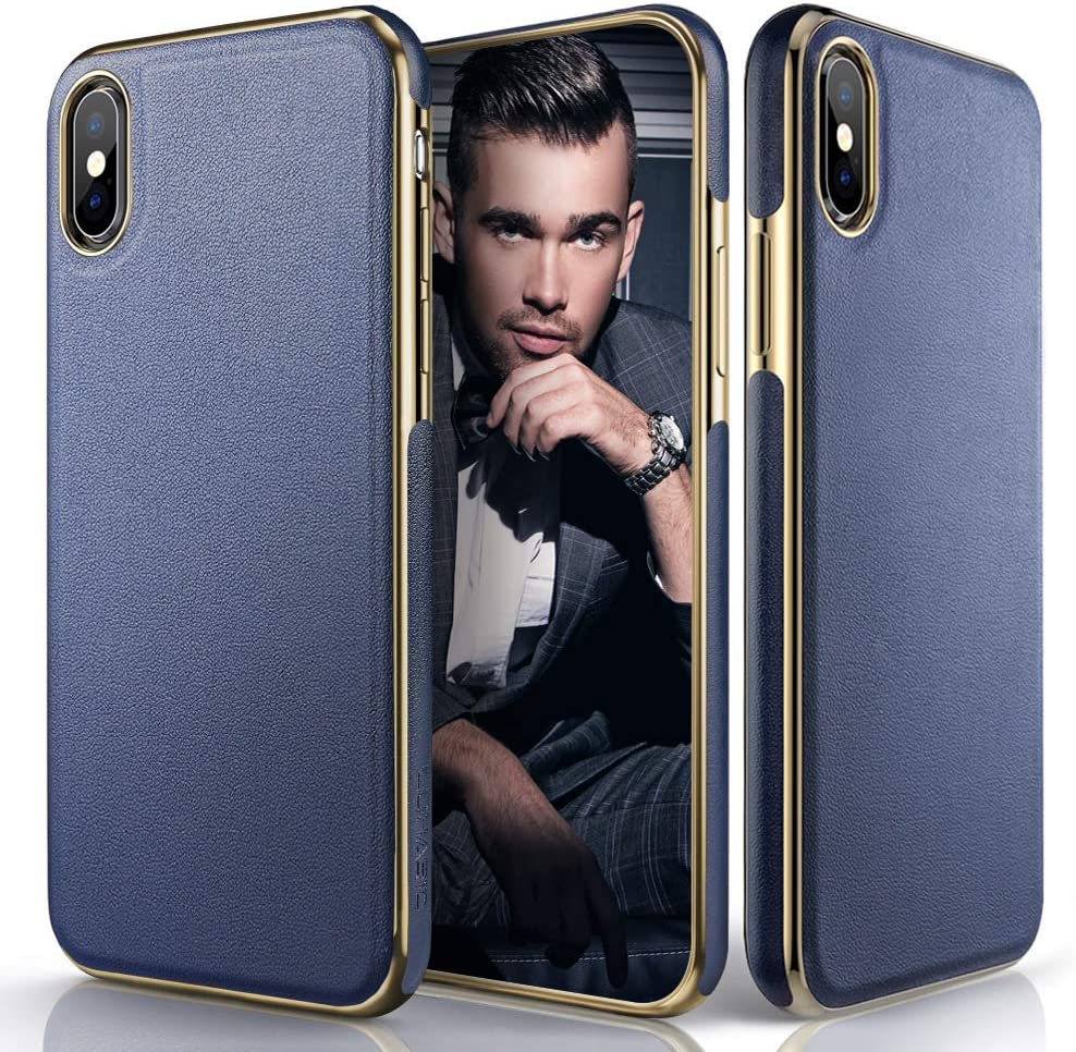 LOHASIC Premium Leather Case for iPhone Xs Max, Slim Luxury Flexible Defender Anti-Slip Soft Grip Shockproof Protective Cover Cases Compatible with Apple iPhone Xs Max (2018) 6.5 inch - Navy Blue